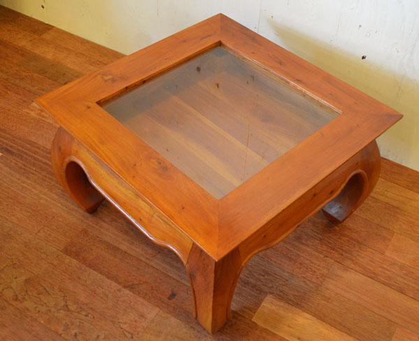 アジアン家具 バリ (ガラスコレクションBOXテーブル (ナチュラル)) おしゃれ インテリア エスニック コレクションテーブル ローテブル ガラス リゾート