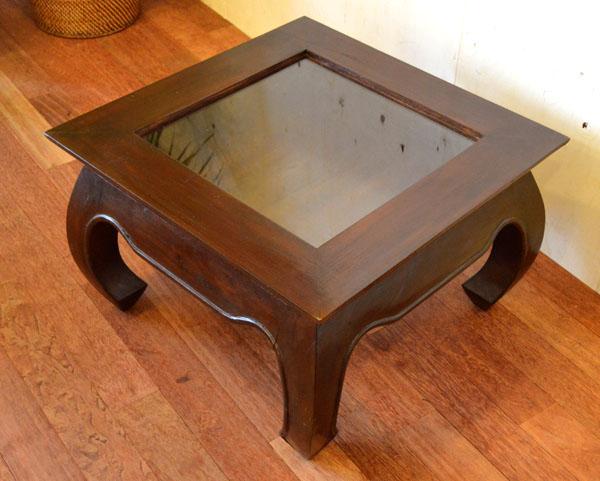 アジアン家具 バリ ( (ガラスコレクションBOXテーブル (ダーク)) おしゃれ インテリア エスニック コレクションテーブル ローテブル ガラス リゾート