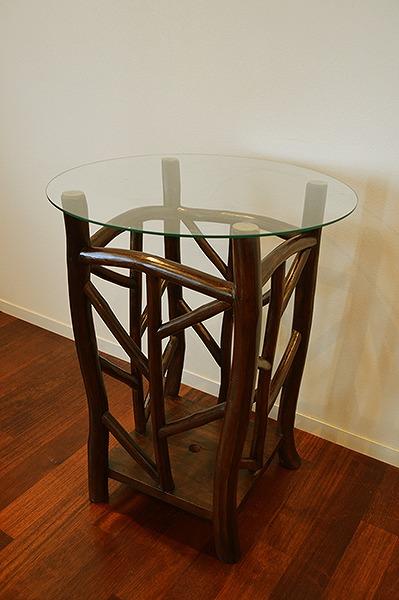 アジアン家具 木製 バリ (AR根のガラストップのカフェテーブル(ダークブラウン) おしゃれ インテリア エスニック テーブル ガラス リゾート