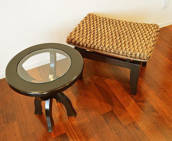 8月中旬入荷予定 アジアン家具 木製 バリ (KIウォーターヒヤシンスのチェアとCAラウンドテーブルのセット) おしゃれ インテリア エスニック 家具セット ティーテーブルセット リゾート