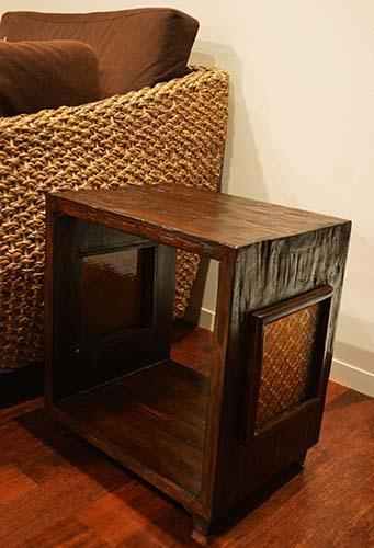 アジアン家具 木製 バリ ♪ATNチーク材 キューブサイドテーブルラックDB(フローラガラス入り)♪ 【送料無料】 おしゃれ インテリア エスニック 収納ラック