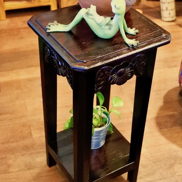 5月下旬入荷予定 花台 木製 アジアン家具 バリ (バリ島の花の彫刻サイドテーブル) サイドテーブル フラワースタンド 電話台 FAX台 エスニック リゾート