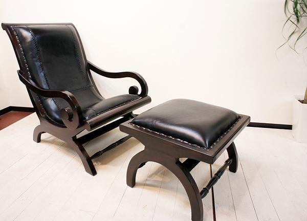 7月上旬入荷予定 アジアン家具 木製 バリ ♪SAラウンジチェア(ブラック)&オットマンSET♪ 【送料無料】 おしゃれ インテリア エスニック ソファ 一人掛け 高座椅子 足置き 本革