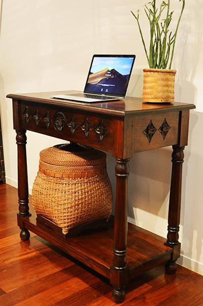 アジアン家具 木製 バリ ♪JA花彫刻のコンソールテーブル80♪ 【送料無料】 おしゃれ インテリア エスニック サイドテーブル 木製