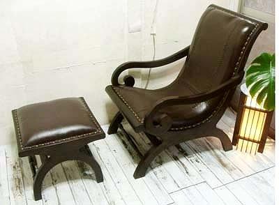 7月上旬入荷予定 アジアン家具 木製 バリ ♪SAラウンジチェア(ブラウン)&オットマンSET♪ 【送料無料】 おしゃれ インテリア エスニック ソファ 一人掛け 高座椅子 足置き 本革
