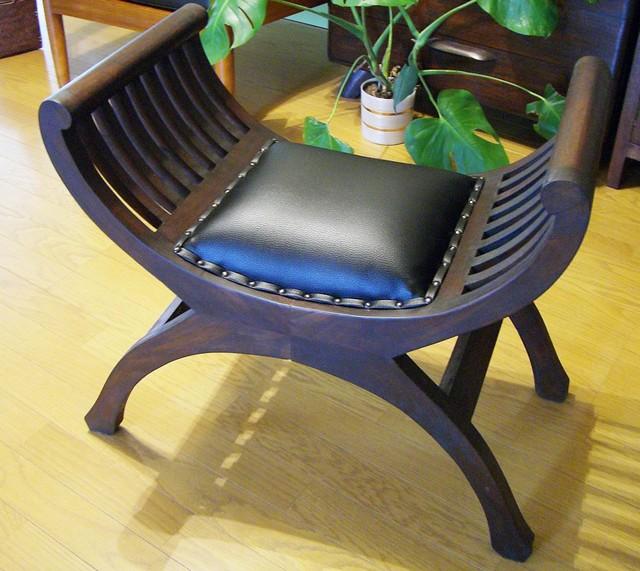 スツール 木製 アンティーク (カルティニチェア(黒/茶)) アジアン家具 バリ クラブチェア 椅子 イス チーク材 エスニック リゾート