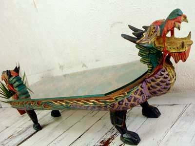 アジアン家具 バリ (ドラゴン ガラステーブル) ローテーブル 座卓 ガラステーブル 木製 エスニック リゾート