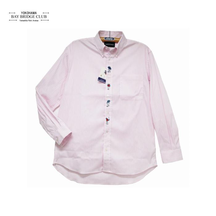 マリンボーイ前立て刺繍入り織り柄ストライプ長袖シャツ
