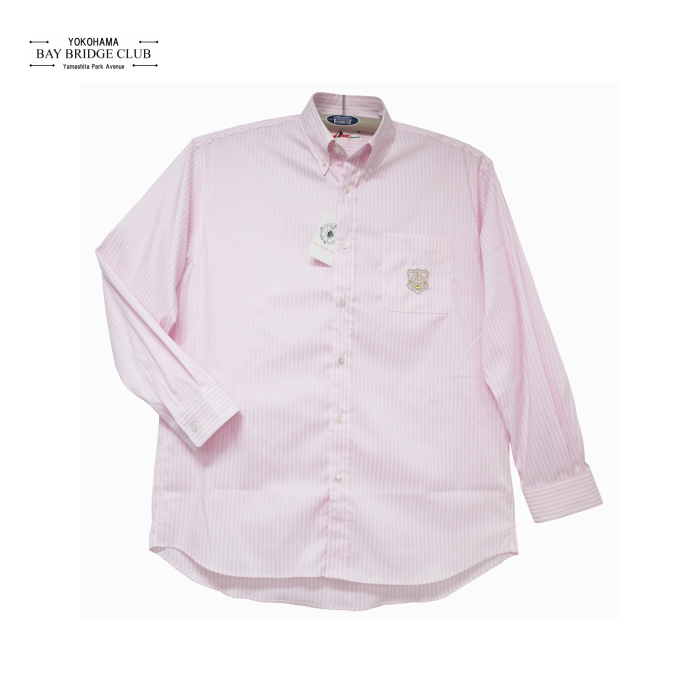 大きいサイズイカリ刺繍入り織り柄ストライプ長袖シャツ