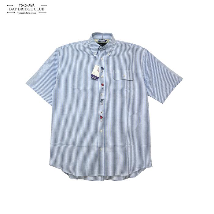 メンズ大きいサイズ前立てマリンボーイ刺繍入り半袖ボタンダウンシャツ
