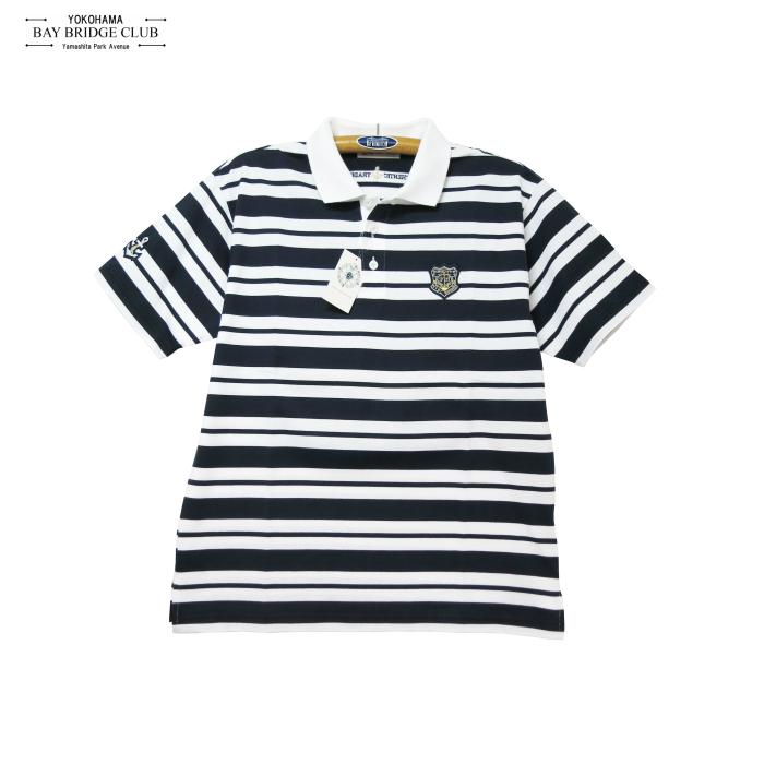 襟白&襟紺マリンボーダーイカリワッペン付半袖ポロシャツ