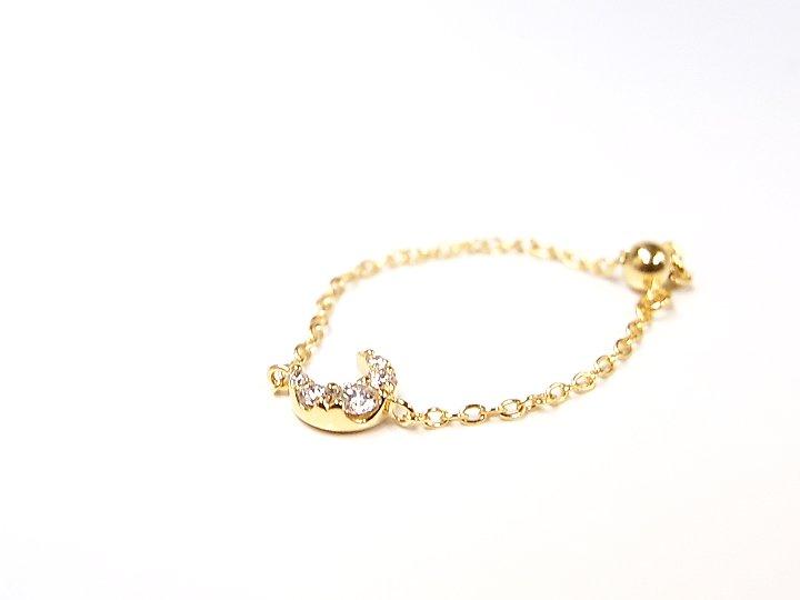 ★クーポンで20%OFF対象★K18YG ダイヤチェーンリング 指輪 ダイヤモンドが月にきらめく スライド式でサイズ調整可能 受注品