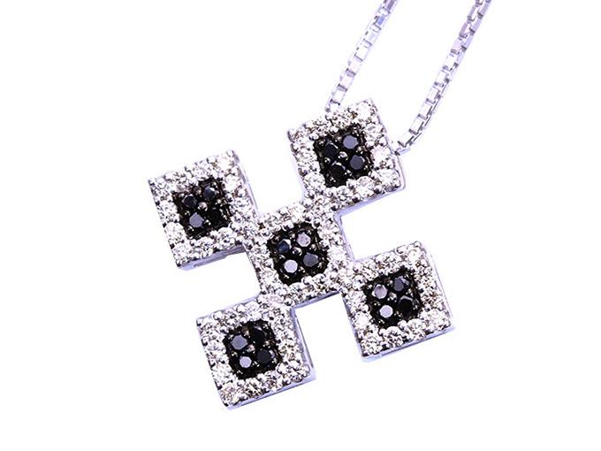★クーポンで40%OFF対象★ブラックダイヤモンド×無色ダイヤモンドのクロスデザインk18WGネックレス 合計0.5ct 1点もの/Ycollectionワイコレクション/送料無料