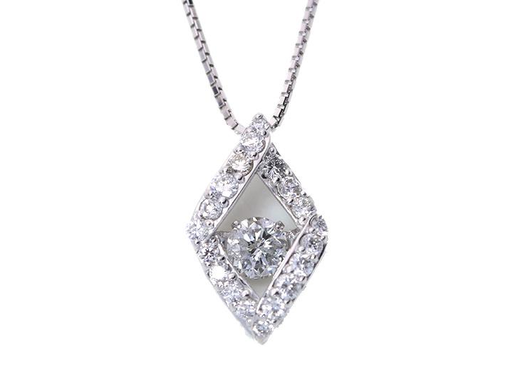 ★クーポンで20%OFF対象★ダイヤの輝きの中で揺れるダイヤモンド0.20ct K18WGダンシングストーンネックレス 受注品/Ycollectionワイコレクション/送料無料 動画