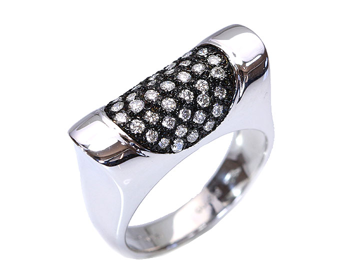 ★クーポンで40%OFF対象★淡いブラウンカラーダイヤパヴェにブラックメッキ 個性的デザインなPTダイヤリング 指輪 1点もの/Ycollectionワイコレクション/送料無料