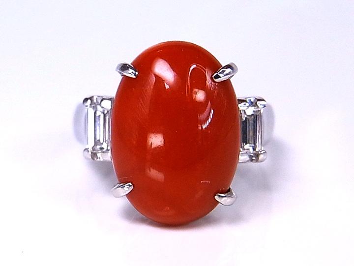 ★クーポンで40%OFF対象★血赤色 赤珊瑚約8ctのPTリング 指輪 サンゴ・コーラル 色むらなしの血赤色/Ycollectionワイコレクション/