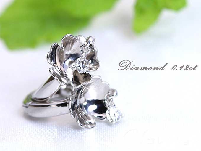 ★クーポンで40%OFF対象★フラワーの中でダイヤがダンス♪ダイヤモンド0.12ct しっかりフープK18WGピアス 1点もの/Ycollectionワイコレクション/送料無料