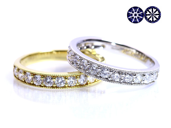 ★クーポンで20%OFF対象★H&C ハート&キューピット ダイヤモンド0.8ctリング 指輪 K18(WG・PT素材対応) ハーフエタニティ・一文字・重ねつけ 受注商品/Ycollectionワイコレクション/送料無料