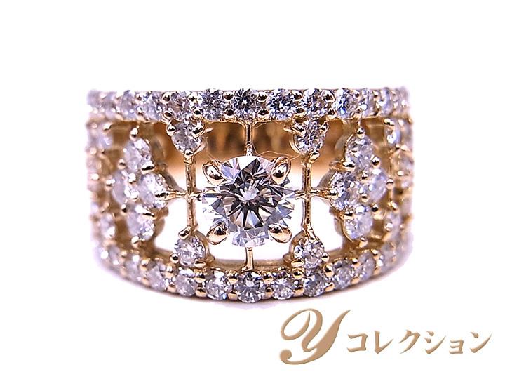 【送料無料/即納】  大粒ダイヤモンド0.536ct F SI2 GOOD レースデザインに輝く1.57ct K18PG幅広リング 指輪 1点もの/Ycollectionワイコレクション/送料無料, Dr.ミールヘルスケア食品専門店 fa6cd55c