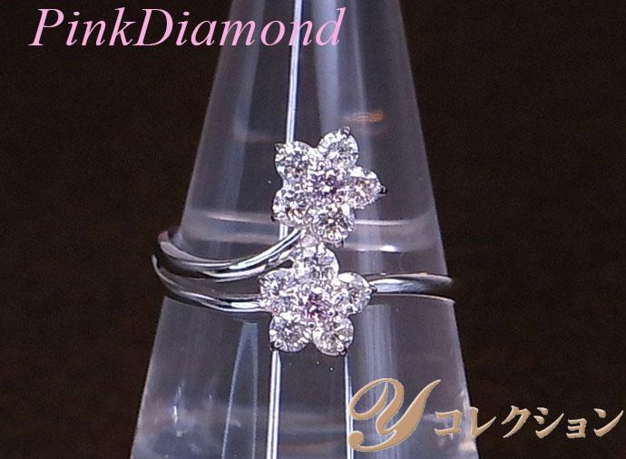 ★クーポンで20%OFF対象★ピンクダイヤモンド0.07ctのダブルフラワー・天然カラーの神秘を楽しむK18WGリング 指輪 受注品/Ycollectionワイコレクション/送料無料