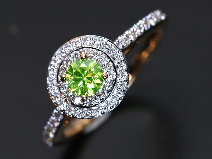 ★クーポンで40%OFF対象★アップルグリーンカラーダイヤモンド 閃光する眩しき彩り 0.368ct K18YGリング 指輪 1点もの/Ycollectionワイコレクション/送料無料