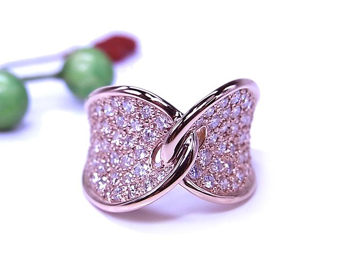 ★クーポンで40%OFF対象★マイクロパヴェのような美しきダイヤモンドパヴェ1.3ct・K18PG or PT900リング/指輪 左右に広がる眩しき輝き 1点もの/Ycollectionワイコレクション/送料無料
