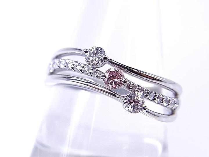 ★クーポンで20%OFF対象★FANCY PINK ファンシーピンクダイヤモンド0.086ct PTリング/指輪 ソーティング付き オーダー作製承ります /Ycollectionワイコレクション/送料無料