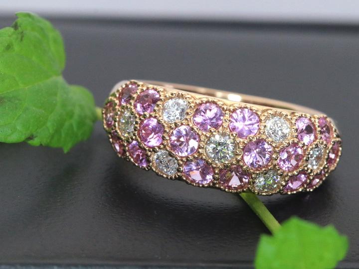 ★クーポンで20%OFF対象★ピンクサファイヤ&ダイヤモンド コントラストが美しいパヴェ どちらも上質で眩しい輝き K18PGピンクゴールドリング/指輪 受注品/Ycollectionワイコレクション/送料無料