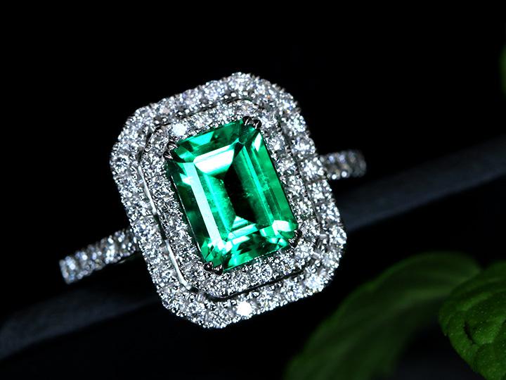 ★クーポンで40%OFF対象★エメラルド1.83ct 大粒約2ct ダイヤモンド0.59ct取り巻き 高き透明度とみずみずしさに感動 PT900プラチナリング/指輪 1点もの/Ycollectionワイコレクション/送料無料