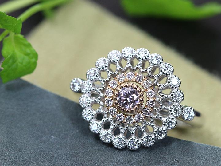 ★クーポンで40%OFF対象★ピンクダイヤモンド 0.168ct FANCY LIGHT PINK SI2 万華鏡 レース PT/K18PGリング 指輪 ミルグレーン 1点もの/Ycollectionワイコレクション/送料無料