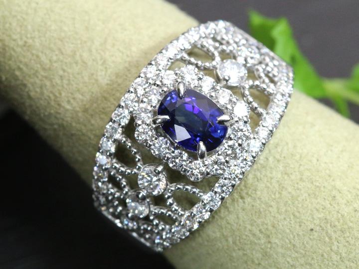 ★クーポンで40%OFF対象★ブルーサファイヤ 0.80ct 幅広人気デザイン PTリング 指輪 贈り物にもおすすめ 1点もの/Ycollectionワイコレクション/送料無料