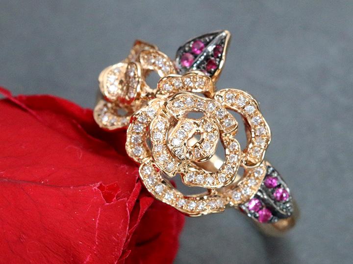 【スーパーSALE限定30%OFF 100000円⇒70000円へ!】バラ ローズデザイン ダイヤモンド0.18ct & ルビーのリーフ0.10ct K18PGリング 指輪 1点もの/Ycollectionワイコレクション/送料無料