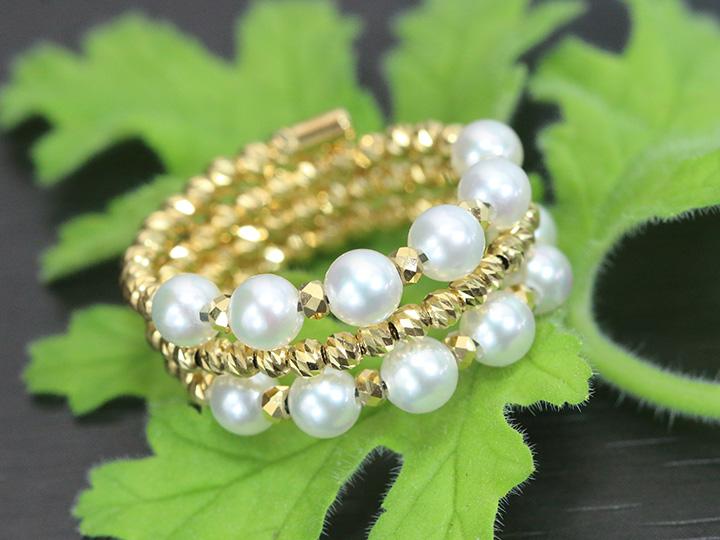 ★クーポンで20%OFF対象★パール・真珠3.5mm 12珠のアコヤが艶めく 3連 形状記憶ワイヤーでサイズ自在調整可能 K18YG リング 指輪 受注品/Ycollectionワイコレクション/送料無料