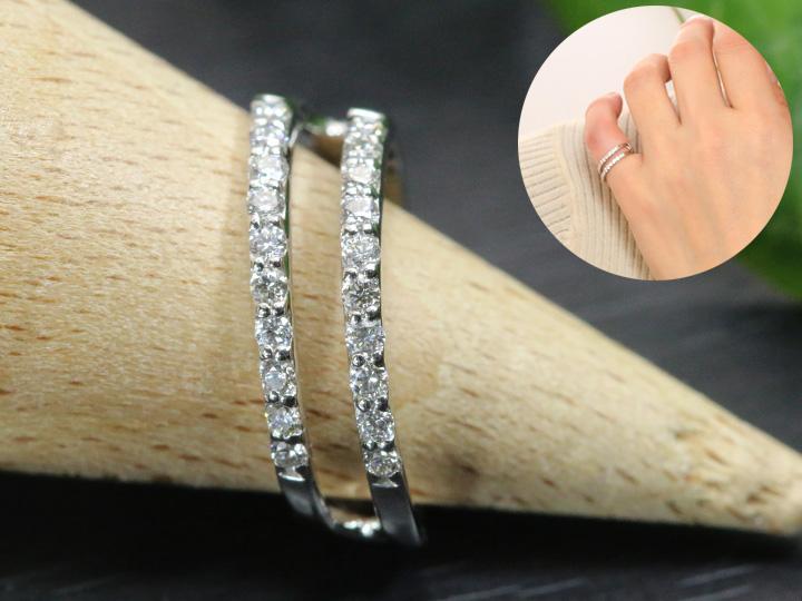 ★クーポンで20%OFF対象★ダイヤモンドが二連に並ぶ PTピンキーリング/指輪 小指用 ダイヤモンド0.28ct 受注品/Ycollectionワイコレクション/送料無料