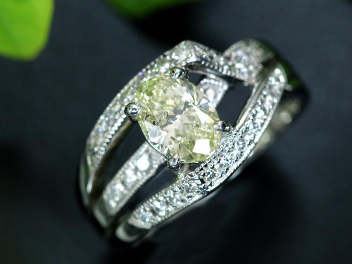★クーポンで40%OFF対象★ダイヤモンド1ct オーバルカット1.003ct VERY LIGHT YELLOW I1 アシンメトリデザイン PT900リング 指輪 1点もの/Ycollectionワイコレクション/送料無料