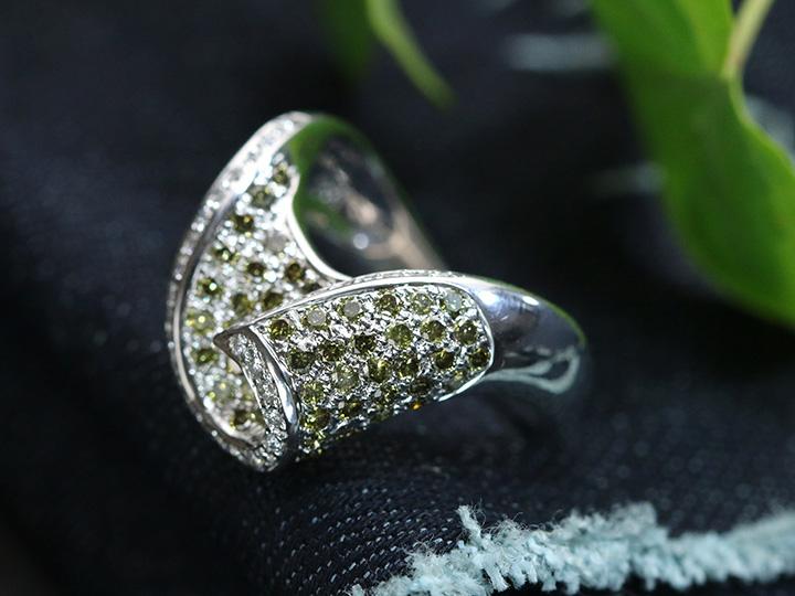 ★クーポンで40%OFF対象★ブラウン&グリーン カラーダイヤモンド びっしりパヴェ合計1.41ct 立体感あり K18WGリング 指輪 1点もの/Ycollectionワイコレクション/送料無料