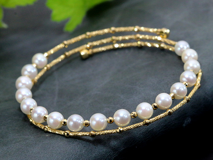 あこや真珠 5.0mmパール 17珠が並ぶ 形状記憶ワイヤー K18イエローゴールドブレスレット バングル 受注品 /Ycollectionワイコレクション/送料無料