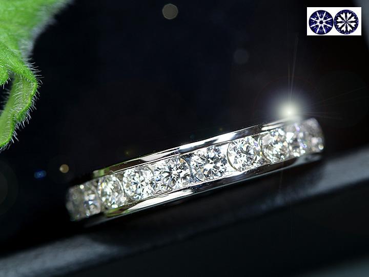 ★クーポンで40%OFF対象★ダイヤモンド1カラット 1.00ct ハートキュー H&C 一文字 無色透明度高く、よく瞬くダイヤ尽くし PTリング プラチナ 重ねつけ 1点もの/Ycollectionワイコレクション/送料無料