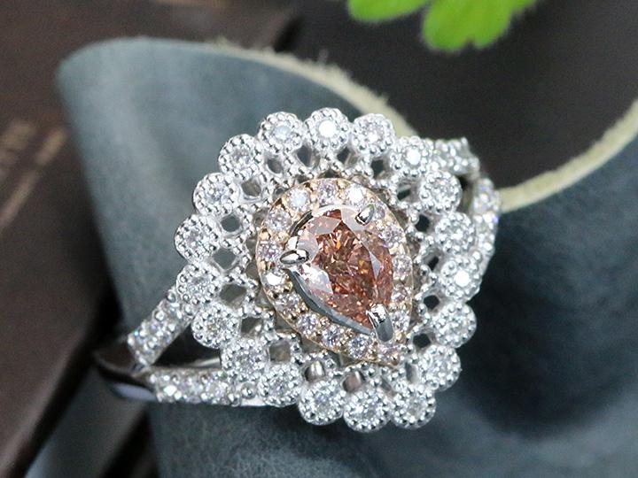★クーポンで40%OFF対象★ピンクダイヤモンド 0.517ct 濃厚ピンク FANCY DEEP ORANGY PINK VS2 ピンクダイヤ取り巻き PT900/K18リング/指輪 1点もの/Ycollectionワイコレクション/送料無料