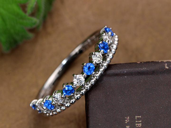 ★クーポンで40%OFF対象★アウイナイト0.16ct 稀少石 濃厚なコバルトブルーと無色ダイヤのコントラスト 2連デザイン PTリング・指輪 1点もの/Ycollectionワイコレクション/送料無料