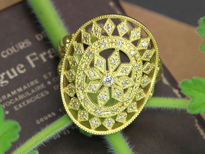 ★クーポンで40%OFF対象★ダイヤモンド0.20ct 丁寧なレースデザイン K18ゴールドリング・指輪 1点もの/Ycollectionワイコレクション/送料無料
