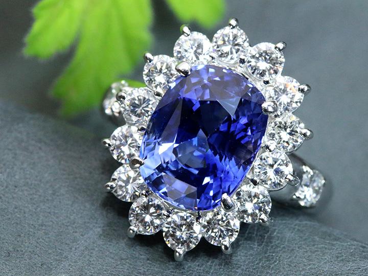 ★クーポンで40%OFF対象★サファイヤ 大粒6.30ct スリランカ産 高い透明度と神秘的な青 ダイヤモンド取り巻き1.86ct PT900リング GRS鑑別書付 1点もの/Ycollectionワイコレクション/送料無料