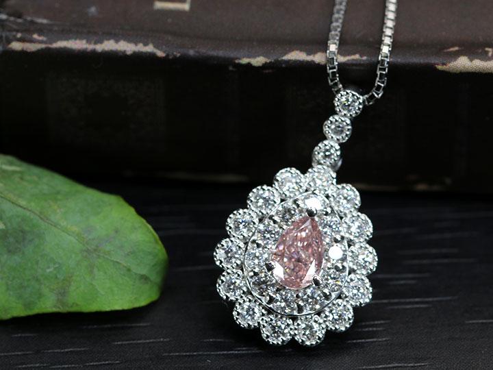 ★クーポンで40%OFF対象★ピンクダイヤモンド0.363ct 大粒の濃厚で明瞭なピンクは必見 FANCY INTENSE PINK ダイヤモンド取り巻き PTペンダントネックレス 中央宝石研究所発行のソーティング付 1点もの/
