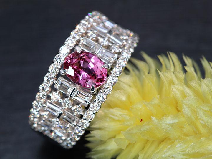 ★クーポンで40%OFF対象★パパラチャサファイヤ 1.06ct 絶妙な彩 ダイヤモンド1.13ct PT900リング 指輪 幅広デザイン 1点もの/Ycollectionワイコレクション/送料無料