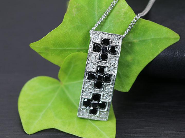 ★クーポンで40%OFF対象★ブラックダイヤモンドがきらめく 無色ダイヤとのコントラストが生きた縦ライン 合計1カラット K18WGホワイトゴールドネックレス 1点もの/Ycollectionワイコレクション/送料無料