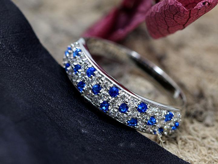 ★クーポンで20%OFF対象★アウイナイト0.15ct&ダイヤモンド0.33ct コントラストが美しいパヴェ 濃厚コバルトブルー・ドイツの稀少石 PT900 プラチナ リング・指輪 受注品/Ycollectionワイコレクション/送料無料