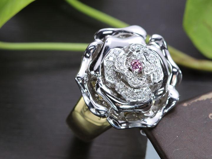★クーポンで40%OFF対象★ピンクダイヤモンド0.055ct FANCY INTENSE PURPLISH PINK 立体的なバラ・ローズ K18WG/K18貫録肉厚 リング・指輪 1点もの ソーティング付/Ycollectionワイコレクション/送料無料