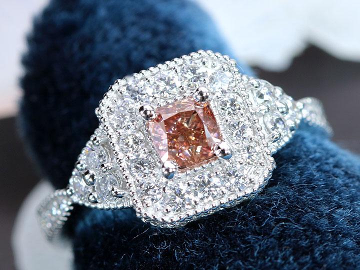 ★クーポンで40%OFF対象★ピンクダイヤモンド 0.502ct FANCY DEEP ORANGY PINK VS2 濃厚なレディッシュピンク ダイヤ0.70ct PT950 プラチナ リング・指輪 1点もの CGLソーティング付/Ycollectionワイコレクション/送料無料
