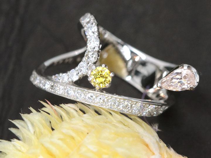 ★クーポンで40%OFF対象★ピンクダイヤモンド0.304ct&イエローダイヤモンド0.108ct FANCY LIGHT ORANGE PINK&FANCY VIVID YELLOW PTリング・指輪 1点もの CGLソーティング付/Ycollectionワイコレクション/送料無料
