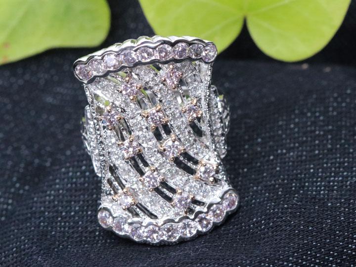 ★クーポンで40%OFF対象★ピンクダイヤモンド たっぷり1.43ct 大振り幅広デザイン 周囲ダイヤ0.3ct K18WGホワイトゴールド リング・指輪 1点もの/Ycollectionワイコレクション/送料無料